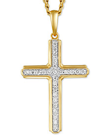 "Men's Diamond Cross 22"" Pendant Necklace (1/4 ct. t.w.) in 10k Gold & Rhodium-Plate"