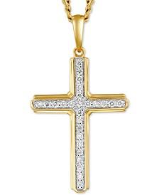 "Men's Diamond Cross 22"" Pendant Necklace (1/4 ct. t.w.) in 10k Gold & Rhodium-Plate"