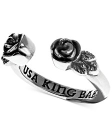 King Baby Women's Rose Cuff Ring in Sterling Silver