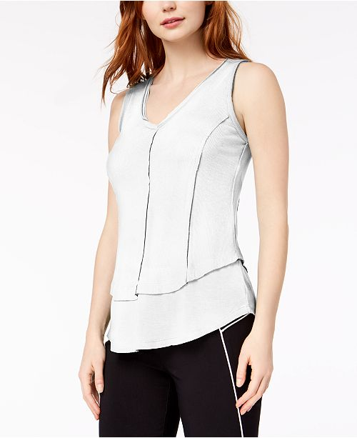 III Top Macy's Look V Neck Ribbed Created White Bar for Layered 6cqP1dZ1w