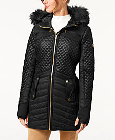 MICHAEL Michael Kors Faux-Fur-Trim Quilted Coat