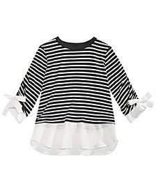 Monteau Big Girls Layered-Look Striped Top