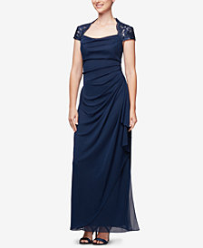 Alex Evenings Cascading Lace-Detail Gown