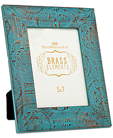 """Philip Whitney 5"""" x 7"""" Blue Washed & Embossed Copper Picture Frame"""
