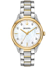 Women's Sutton Diamond-Accent Two-Tone Stainless Steel Bracelet Watch 32.5mm