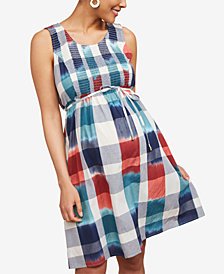 Motherhood Maternity Plaid Cotton Dress