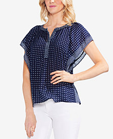 Vince Camuto Printed Flutter-Sleeve Top