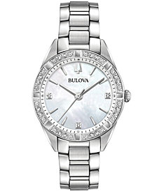 Bulova Women's Sutton Diamond (1/10 ct. t.w.) Stainless Steel Bracelet Watch 32.5mm