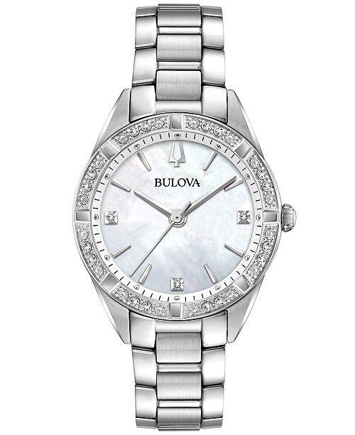 Women S Sutton Diamond 1 10 Ct T W Stainless Steel Bracelet Watch 32 5mm