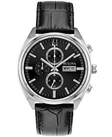 Men's Chronograph Classic Surveyor Black Leather Strap Watch 42mm