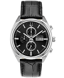 Bulova Men's Chronograph Classic Surveyor Black Leather Strap Watch 42mm