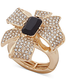 Anne Klein Gold-Tone Pavé & Stone Bow Stretch Ring