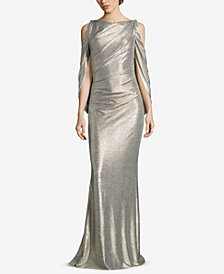 Betsy & Adam Metallic Cold-Shoulder Gown