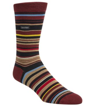 CALVIN KLEIN Barcode Multistripe Socks in Cabernet