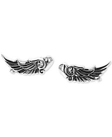 King Baby Women's Wing Heart Cuff Earrings in Sterling Silver
