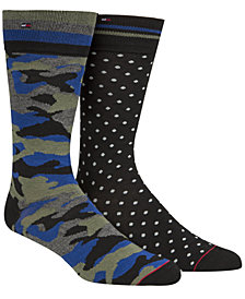 Tommy Hilfiger Men's 2-Pk. Printed Crew Socks