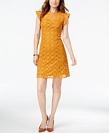 MICHAEL Michael Kors Lace Flutter-Sleeve Dress