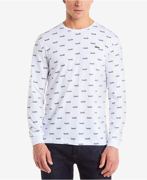 e7faa56860fba Lacoste Men s LIVE Logo-Print Long-Sleeve T-Shirt   Reviews ...