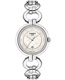 Tissot Women's Swiss T-Lady Flamingo Diamond-Accent Gray Stainless Steel Bracelet Watch 26mm