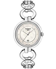 Tissot Women's Swiss T-Lady Flamingo Diamond-Accent Gray Stainless Steel Bracelet Watch 26mm