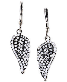 King Baby Pavé Wing Drop Cubic Zirconia Earrings in Sterling Silver
