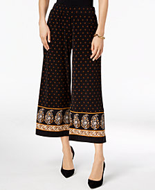 MICHAEL Michael Kors Printed Wide-Leg Cropped Pants, In Regular & Petite Sizes