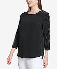 Calvin Klein Pearl-Sleeve Top