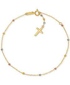 Tricolor Cross Bracelet in 14k Gold, White Gold & Rose Gold
