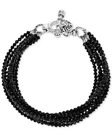 King Baby Women's Black Spinel Multi-Strand Toggle Bracelet