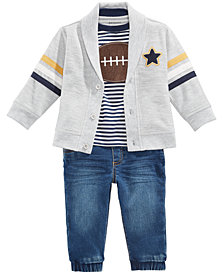 First Impressions Baby Boys Cardigan, Football-Print T-Shirt & Denim Jogger Jeans, Created for Macy's