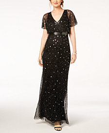 Adrianna Papell Beaded Blouson Gown, Regular & Petite