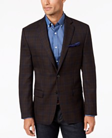 Lauren Ralph Lauren Men's Classic-Fit UltraFlex Stretch Brown Plaid Wool Sport Coat