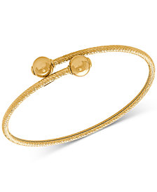 Polished Bead Textured Bypass Bangle Bracelet in 10k Gold