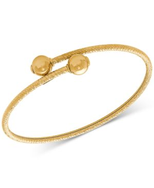 Polished Bead Textured Bypass Bangle Bracelet in 10k Gold -  Macy's