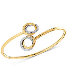 Two-Tone Textured Circle Bypass Bangle Bracelet in 10k Gold & Rhodium-Plate
