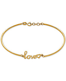 "Scripted ""Love"" Bangle Bracelet in 10k Gold"