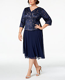 Alex Evenings Plus Size Sequined Lace Midi Dress