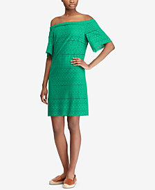 Lauren Ralph Lauren Petite Off-The-Shoulder Cotton Shift Dress