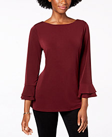 Charter Club Layered-Sleeve Boat-Neck Top, Created for Macy's