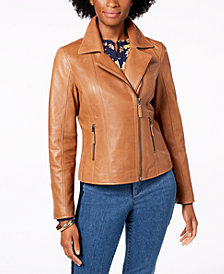 Charter Club Petite Leather Moto Jacket, Created for Macy's