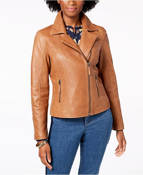 203fe3fdc921 Charter Club Leather Jacket, Created for Macy's & Reviews - Jackets ...