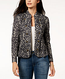 Tommy Hilfiger Floral-Print Band Jacket, Created for Macy's