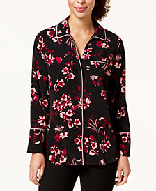 Alfani Printed Piped Blouse, Created for Macy's