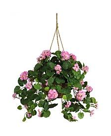 Nearly Natural Geranium Artificial Plant Hanging Basket