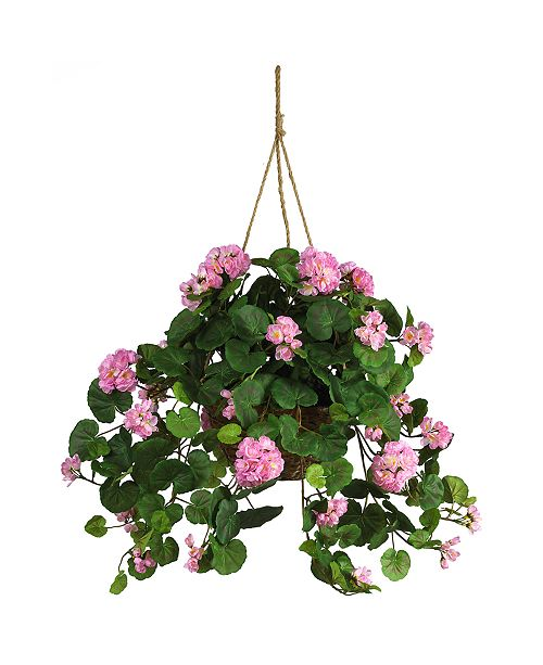 Nearly Natural Geranium Artificial Plant Hanging Basket