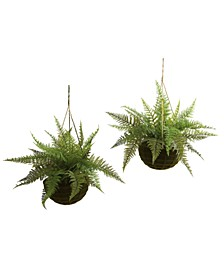 2-Pc. Leather Fern Indoor/Outdoor Artificial Plant Mossy Hanging Basket Set