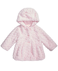 First Impressions Baby Girls Hooded Faux-Fur Hearts Coat, Created for Macy's