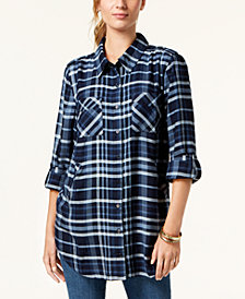 Style & Co Plaid Button-Front Shirt, Created for Macy's