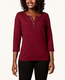 Karen Scott Cotton Ruffle-Trim Henley Top, Created for Macy's