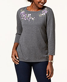 Karen Scott Petite Embroidered 3/4-Sleeve Sweater, Created for Macy's